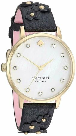 Kate Spade Metro Watch KSW1514 Gold Tone Accents Floral Blac