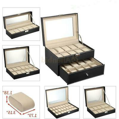 6/10/12/20/24 Slots Men Women Watch Box Top Jewelry Storage