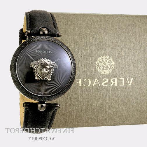 Authentic Women's Versace Black Leather Palazzo Empire Watch