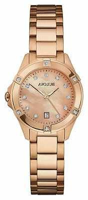 Bulova Women's 97W101 Quartz Diamond Markers Rose Gold Brace