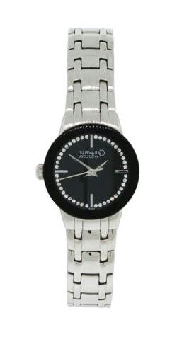 Caravelle by Bulova 43L130 Women's Round Black Analog Clear