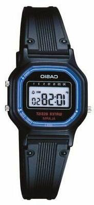Casio LA11WB-1 Women's Black Resin Band Daily Alarm Chronogr