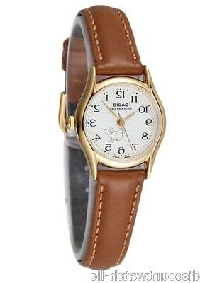 Casio Women's Brown Leather Strap Watch, White Dial, DOG, LT