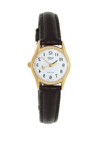 Casio Women's Brown Leather Strap Watch, White Dial, Heart,