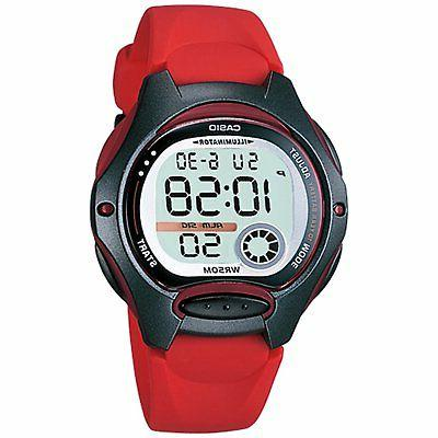 Casio Women's Quartz Gray Dual Time Dial Red Resin Band 35mm