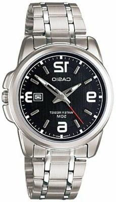 Casio Women's Silver Stainless Steel Quartz Black Dial 50M W