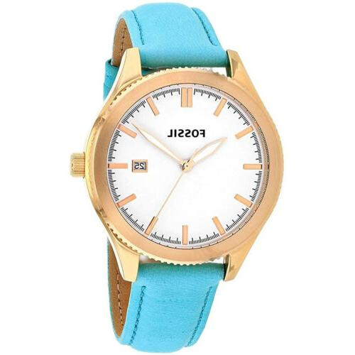 Fossil BQ3271 NEW Women's Rose Gold Aqua Teal Green Classic