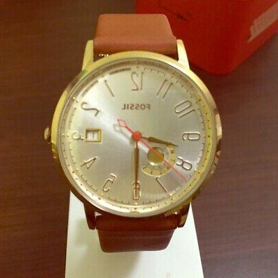 Fossil ES3750 Vintage Muse Silver Dial Tan Leather Strap Wom