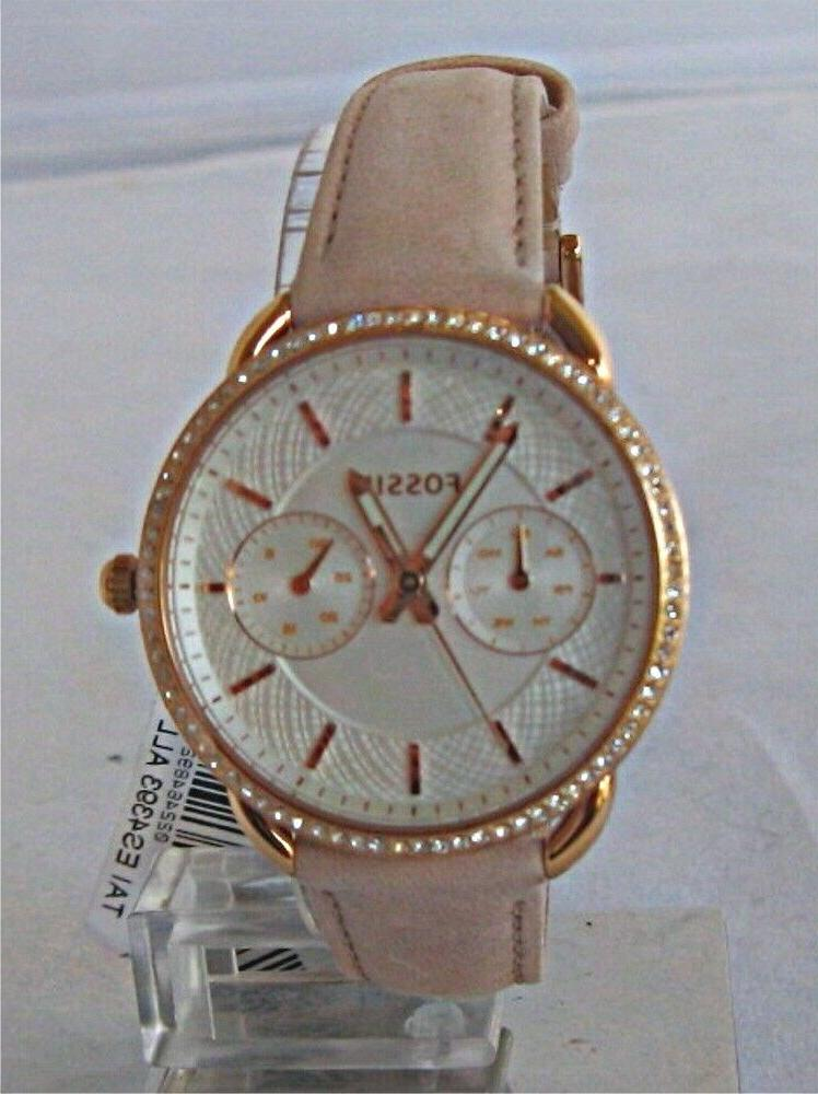 Fossil Women Tailor Multifunction Blush Leather Watch ES4393