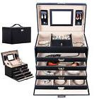 Leather Jewelry Box Storage Organizer Watch Case Mirrored w/