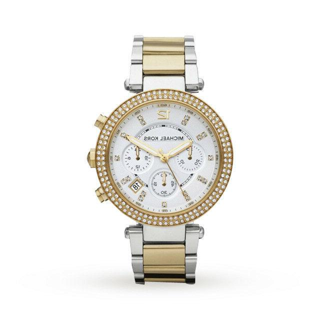 Michael Kors Parker Chronograph Two Tone Gold Silver Women's