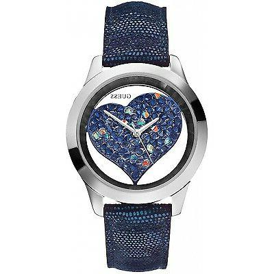 New  Authentic GUESS Women's Navy Heart Dial Watch with Leat