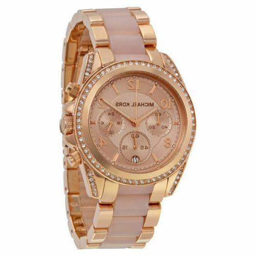 New Michael Kors Blair Rose Gold Chronograph Dial Blush Wome