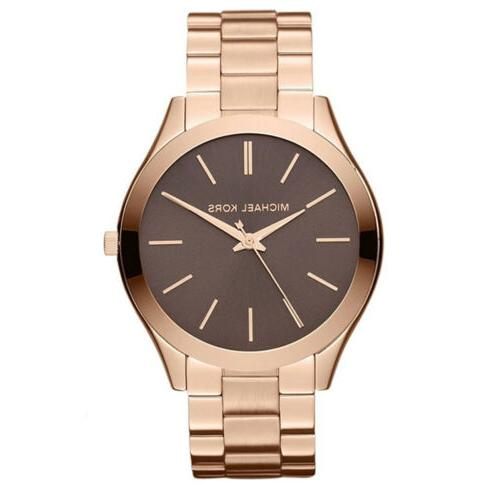 New Michael Kors MK3181 41mm Runway Stainless Steel Rose Gol