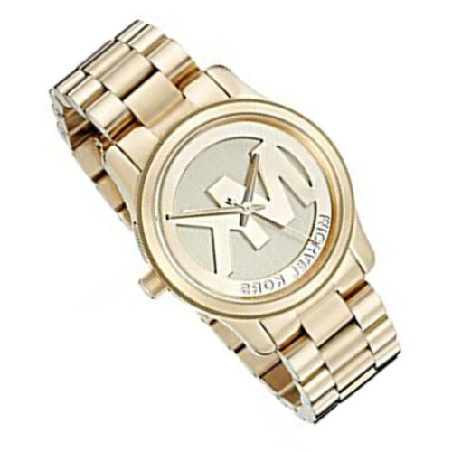 New Michael Kors MK5786 Women's 38mm Case Runway Gold-Tone S