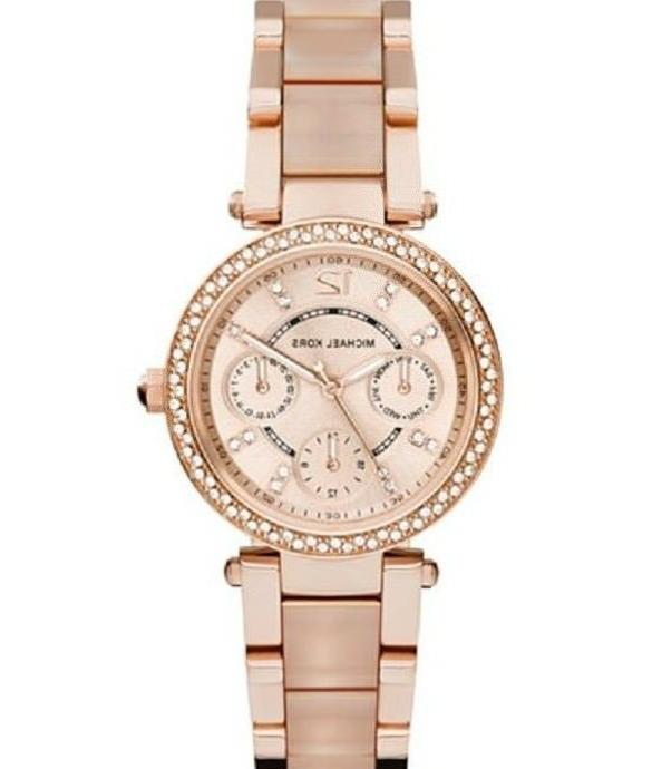 New Michael Kors Parker Rose Gold Blush Crystal Set MK6110 W