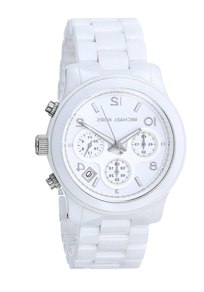 New Michael Kors Runway White Ceramic Chronograph MK5161 Wom