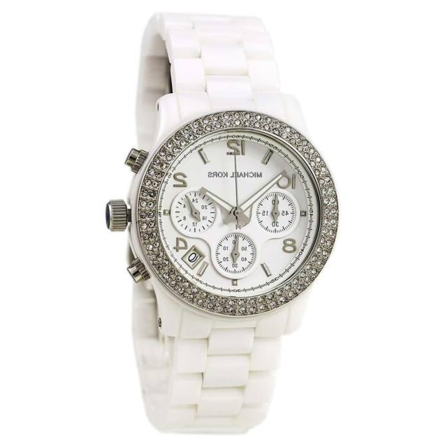 New Michael Kors Runway White Ceramic Glitz Chronograph MK51