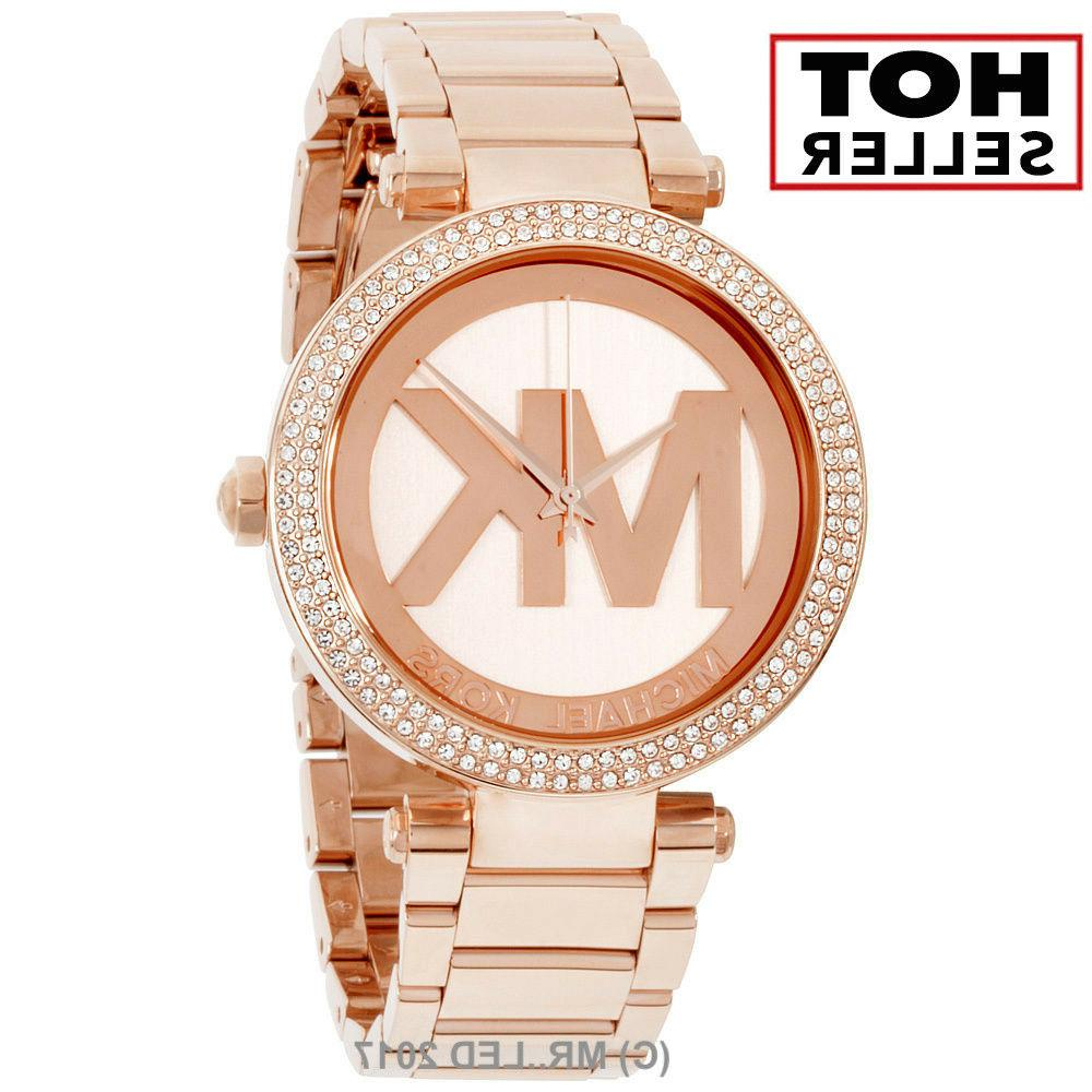 New Michael Kors Women's Parker MK5865 Rose-Gold Stainless-S