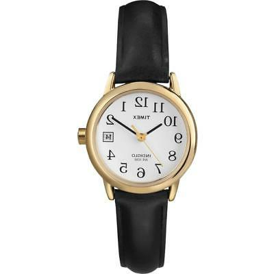 New Timex Women's Black Leather Gold Tone Watch T2H341
