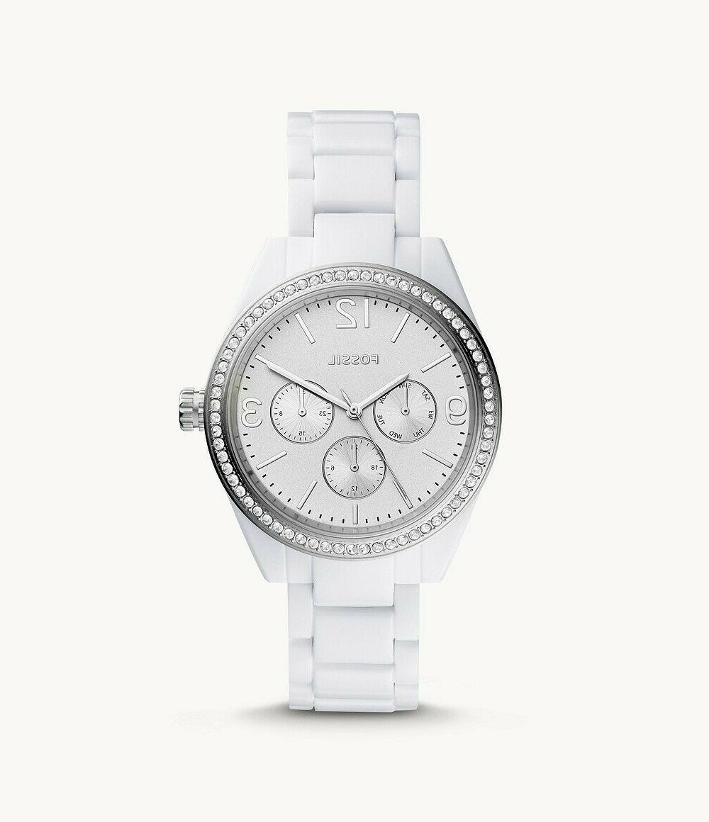 New Women's Fossil Caleigh Glitz Bezel White Dial Resin St