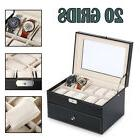 PU 20 Grids Watch Box Case Jewelry Organizer Display Storage