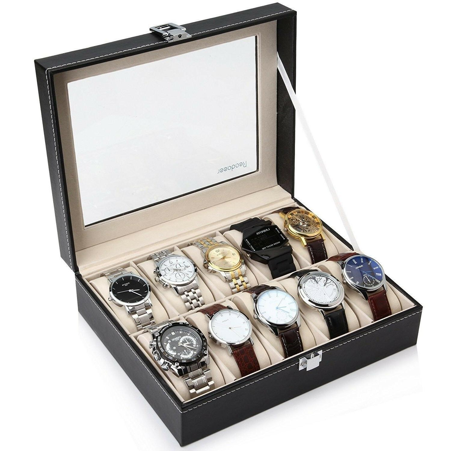 Readaeer Glass Top 10 Watch Black Leather Box Case Display F
