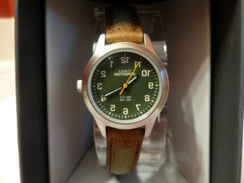 """Timex TW4B12000, Women's """"Expedition"""" Brown Leather/Nylon Wa"""