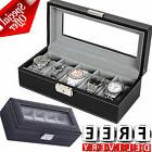 Watch Box Organizer 5 Case Travel Display Men Women Leather