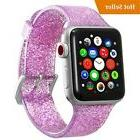 Women's Apple Watch Band Glitter Silicone Band, Steel Clasp