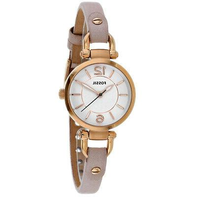 Women's Fossil Georgia Pink Leather Band Watch ES4340
