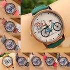 BOYS MEN WOMEN Casual Cute Cartoon Bike Leather Quartz Wrist