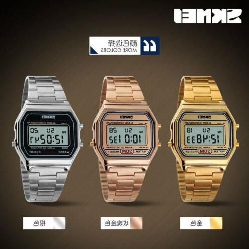 Casual SKMEI Men Women Stainless Steel LED Digital Sport Qua
