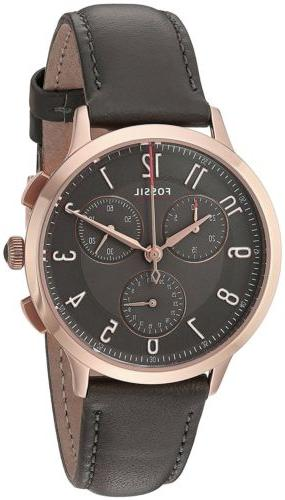 Fossil CH3099 Women's Abilene Sport Rose Gold Steel Gray Lea