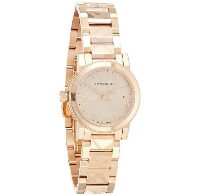 Women's Burberry Check Stamped Bracelet Watch, 26mm - Rose G