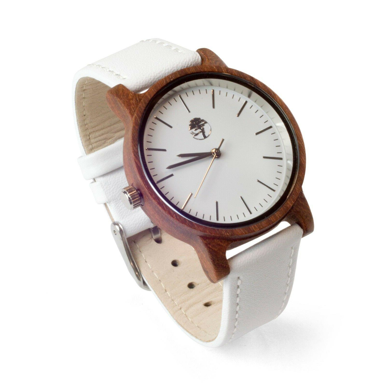 Clearance Wooden Wristwatch Wood Watch Genuine Leather White