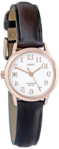 Timex Women's Easy Reader Rose Gold-Tone Watch, Brown Leathe