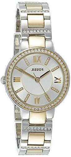 Fossil Women's ES3503 Virginia Crystal-Accented Two-Tone Sta