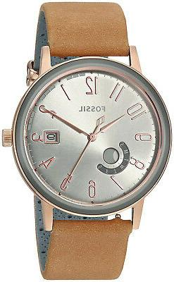 Fossil ES4266 Vintage Muse Grey Dial Tan Leather Strap Women