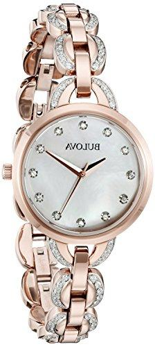 Bulova Women's Facets Crystal Accent Rose Gold-Tone Stainles