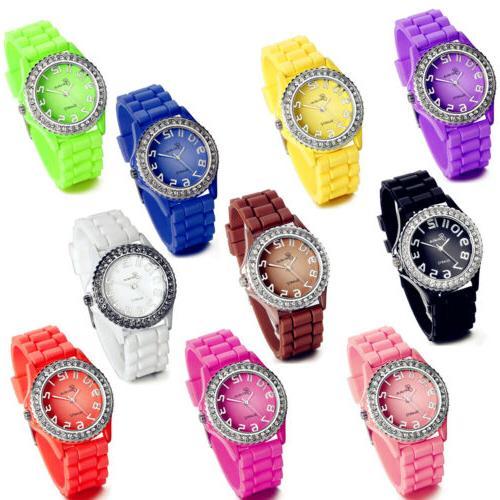 Fashion Rhinestone Jelly Gel Silicone Women Lady Girls Casua