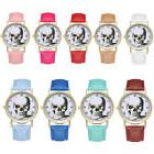 Fashion Stainless Steel Dial Retro Wrist Watch  With Leather