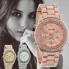 Fashion Women Stainless Steel Crystal Diamonds Ladies Quartz