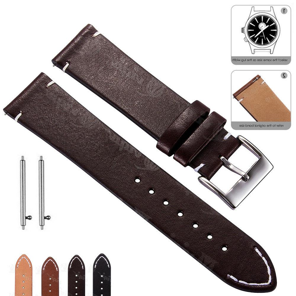 18 20 22mm Genuine Leather Watch Band Wrist Strap For Fossil
