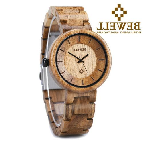 BEWELL Handmade Wooden Women Watch Casual Quartz Analog Wood