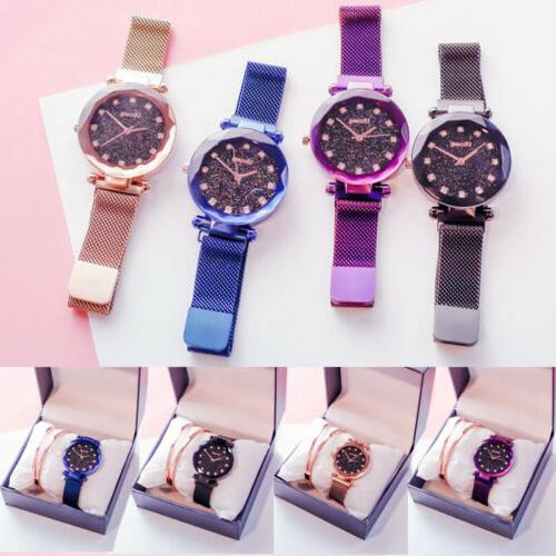 hot starry sky watch waterproof magnet strap