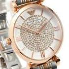 New EMPORIO ARMANI Ladies Watch Silver RoseGold Crystal Pave