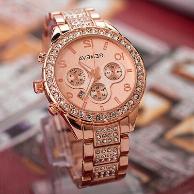 Luxury Fashion Geneva Women's Crystal Stainless Steel Quartz