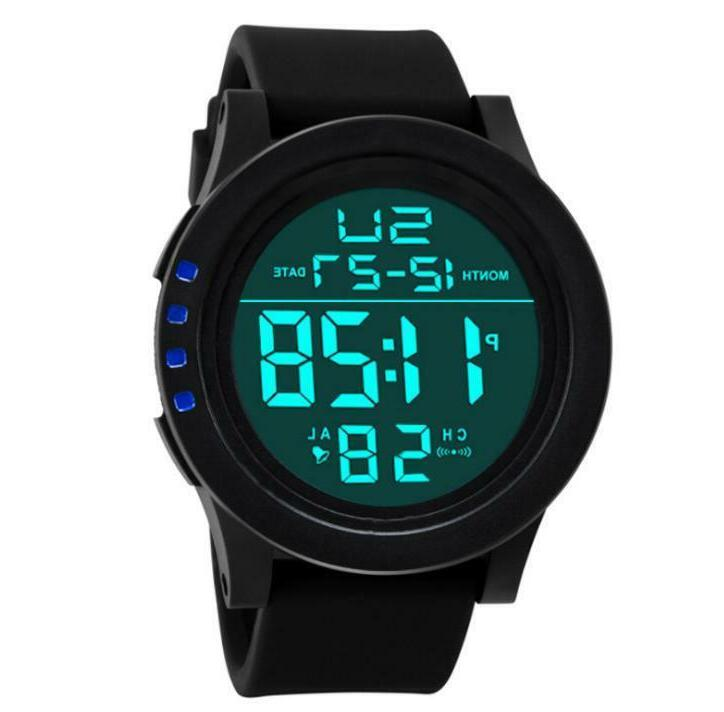 Men LED Waterproof Quartz Silicone Band Watch Sport Watches Women