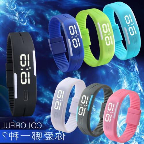 Men Women Rubber LED Waterproof Watch Date Bracelet Digital